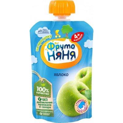 (Упак 12х90гр) Пюре ФрутоНяня из яблок гипоаллергенное с 4 мес (пауч)