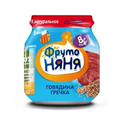 (Упак 12х100гр) Пюре ФрутоНяня из говядины с гречкой с 8 месяцев