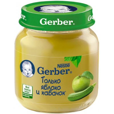 (Упак 12х130гр) Пюре Gerber Яблоко и кабачок