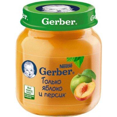 (Упак 12х130гр) Пюре Gerber Яблоко и персик