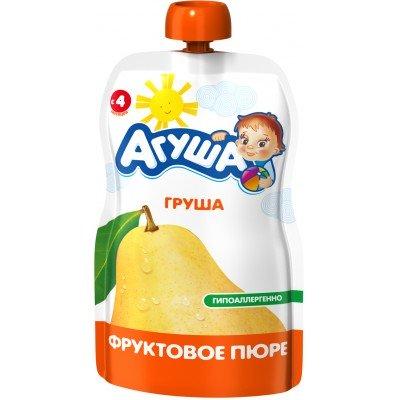 (Упак 10х90гр) Пюре Агуша Груша, Doy-pack