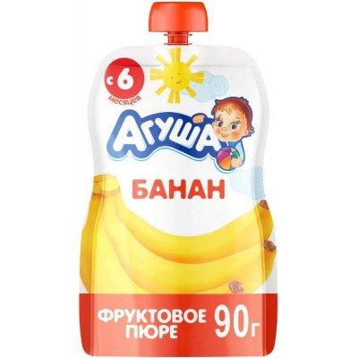 (Упак 10х90гр) Пюре Агуша Банан, Doy-pack