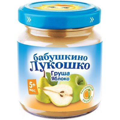 (Упак 6х100гр) Пюре Бабушкино Лукошко Груша-яблоко с 5 мес