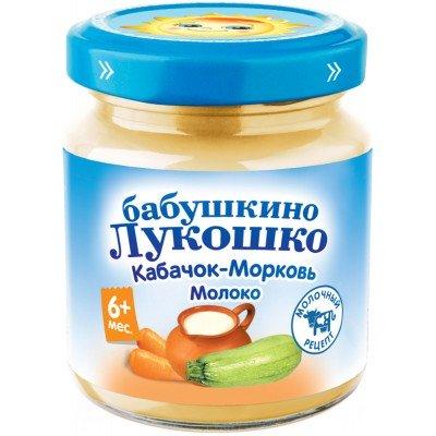 (Упак 6х100гр) Пюре Бабушкино Лукошко Кабачок-морковь с молоком с 6 мес