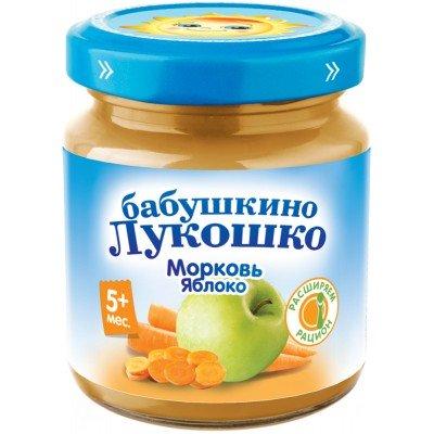 (Упак 6х100гр) Пюре Бабушкино Лукошко Морковь-яблоко с 5 мес