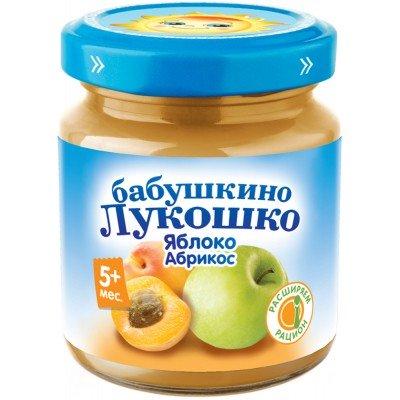 (Упак 6х100гр) Пюре Бабушкино Лукошко Яблоко-абрикос с 5 мес