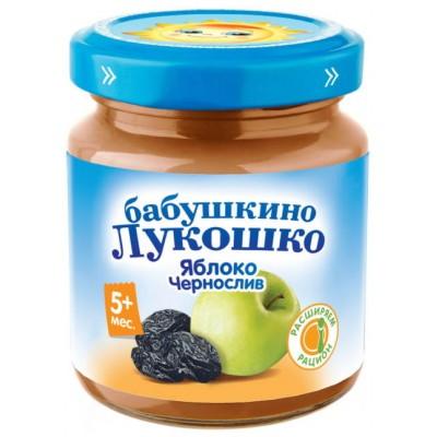 (Упак 6х100гр) Пюре Бабушкино Лукошко яблоко-чернослив для детей с 5 мес