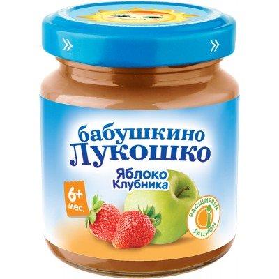 (Упак 6х100гр) Пюре Бабушкино Лукошко Яблоко-клубника с 6 мес