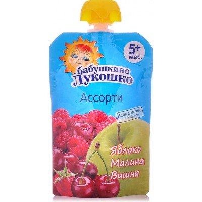 (Упак 12х90гр) Пюре Бабушкино Лукошко Яблоко, малина и вишня с 5 мес. 90 г (пауч)