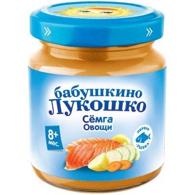 (Упак 6х100гр) Пюре Бабушкино Лукошко Семга с овощами с 8 мес