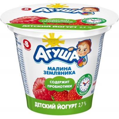 (Упак 6х90гр) Йогурт Агуша Малина-земляника 2,7% с 8 месецев
