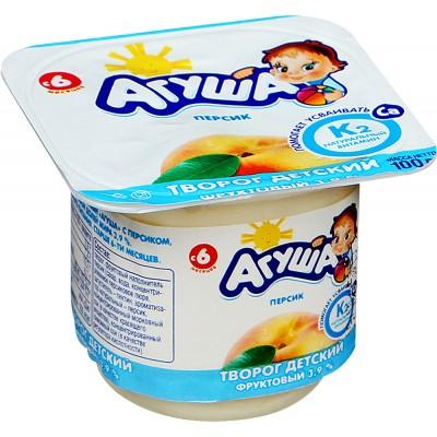 (Упак 6х100гр) Творог Агуша Персик 3,9% с 6 мес