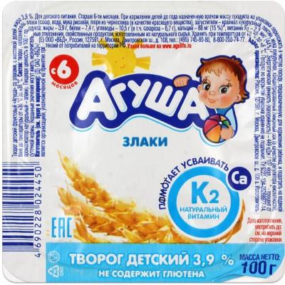 (Упак 6х100гр) Творог Агуша Злаки 3,9% с 6 мес
