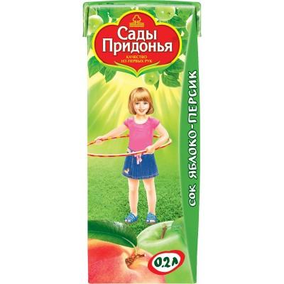 (Упак 27х0,2л) Сок Сады Придонья Яблоко и персик с мякотью с 5 мес