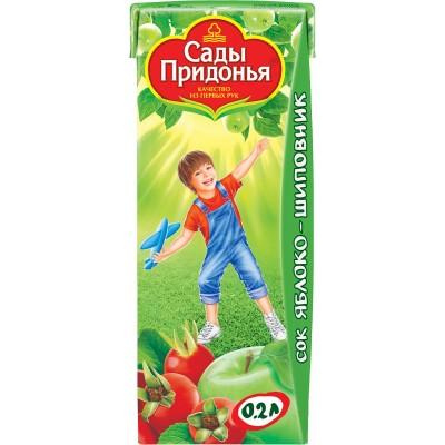(Упак 27х0,2л) Сок Сады Придонья Яблоко и шиповник с 6 мес