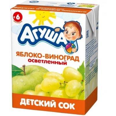 Сок Агуша яблоко-виноград без сахара, упак 18х200мл