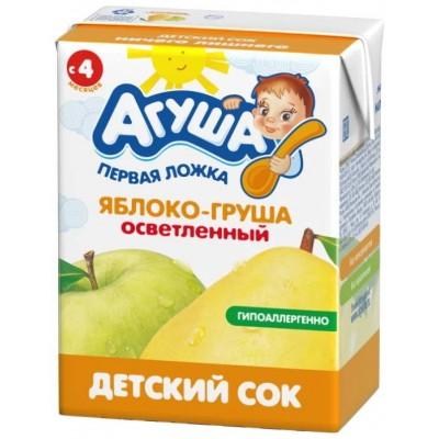 Сок Агуша яблоко-груша осветленный, упак 18х200мл