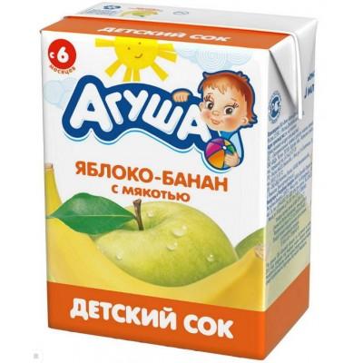 Сок Агуша яблоко-банан c мякотью, упак 18х200мл