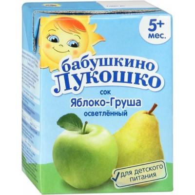 Сок Бабушкино лукошко Яблочно-грушевый, упак 18х200 мл