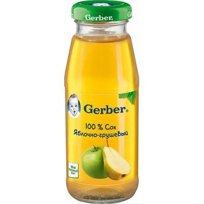 (Упак 12х175мл) Сок Gerber яблочно-грушевый с 4 мес=