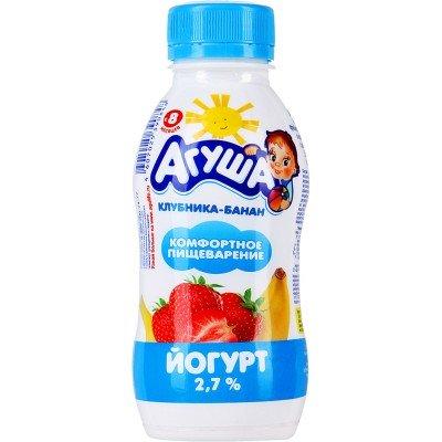 Йогурт питьевой Агуша Клубника и банан 2,7% с 8 мес. 200 гр