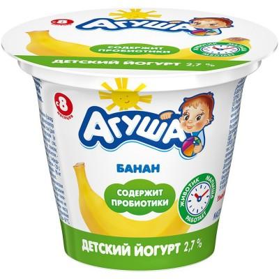 (Упак 6х90гр) Йогурт Агуша Банан 2,7%, с 8 месецев