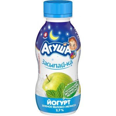 Йогурт питьевой Агуша «Засыпай-ка» Зеленое яблоко-мелисса 2,7% с 8 мес. 200 мл