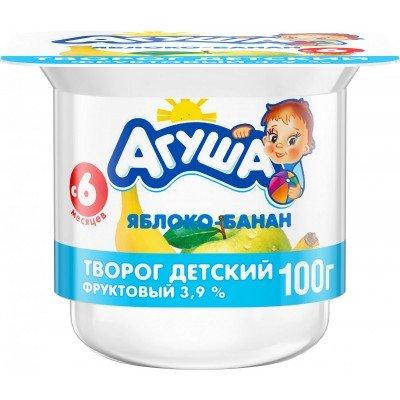 (Упак 6х100гр) Творог Агуша Яблоко и банан 3,9% с 6 мес