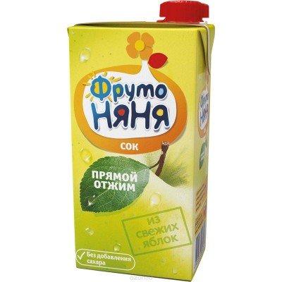 (Упак 25х0,5л) Сок ФрутоНяня из яблок прямого отжима 0,5 л от 3 лет