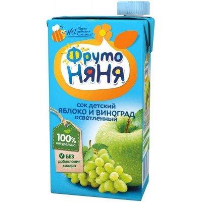 (Упак 25х0,5л) Сок ФрутоНяня из яблок и винограда 0,5 л от 3 лет