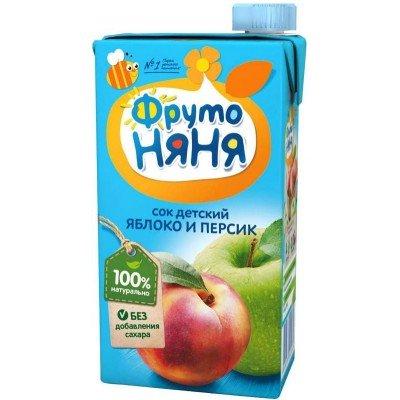 (Упак 25х0,5л) Сок ФрутоНяня из яблок и персиков с мякотью 0,5 л от 3 лет