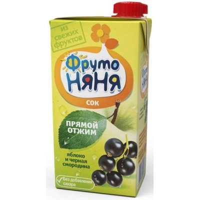 (Упак 25х0,5л) Сок ФрутоНяня яблоко-черная смородина 0,5 л от 3 лет