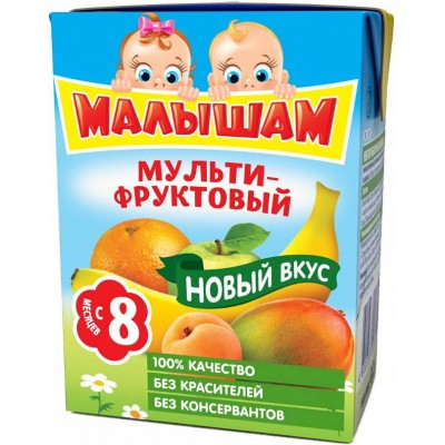 (Упак 27х0,2л) Нектар ФрутоНяня Малышам мультифруктовый с 8 мес. 200 мл