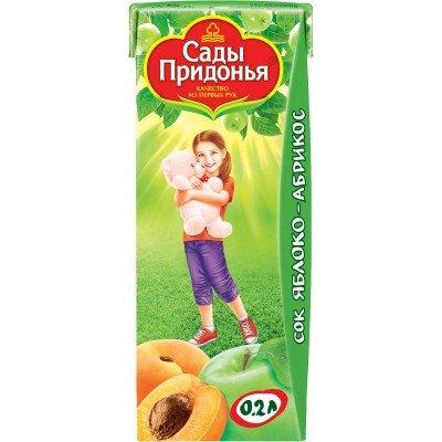 (Упак 27х0,2л) Сок Сады Придонья Яблоко и абрикос с мякотью с 5 мес
