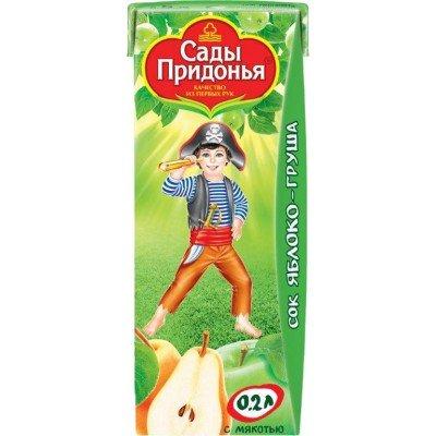 (Упак 27х0,2л) Сок Сады Придонья Яблоко и груша с мякотью с 5 мес