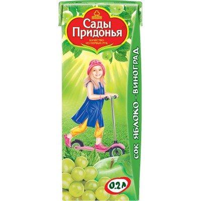 (Упак 27х0,2л) Сок Сады Придонья Яблоко и виноград с 6 мес