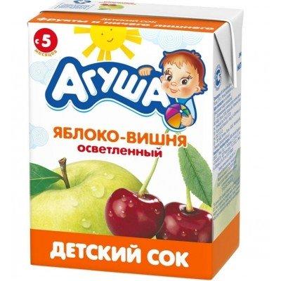 Сок Агуша яблоко-вишня без сахара, упак 18х200мл