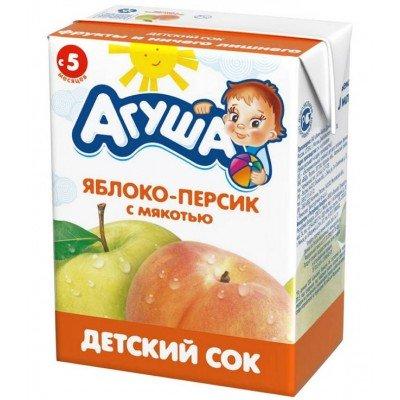 Сок Агуша яблоко-персик с мякотью, упак 18х200мл