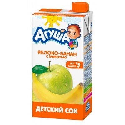 Сок Агуша яблоко-банан с мякотью, упак. 15х500 мл