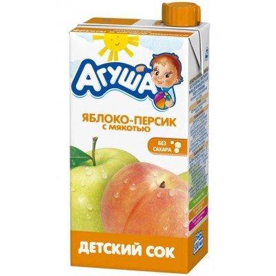 Сок Агуша яблоко-персик с мякотью, упак. 15х500 мл