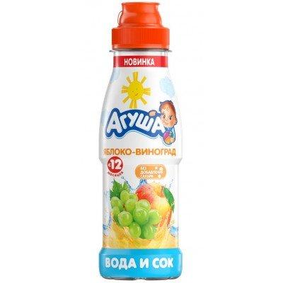 Вода с соком Агуша яблоко-виноград 300 мл (упак 6 шт)