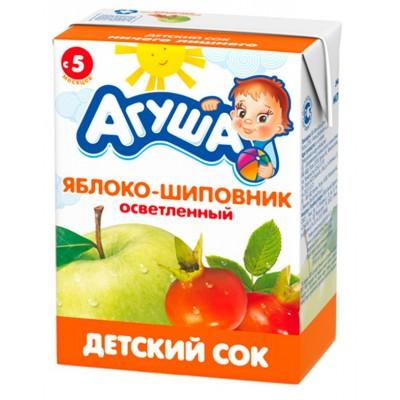 Сок Агуша яблоко-шиповник без сахара, упак 18х200мл