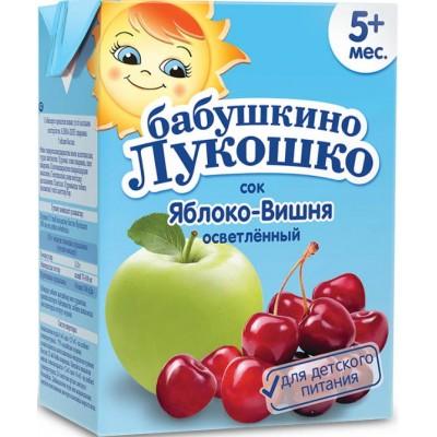 Сок Бабушкино лукошко яблоко-вишня, упак 18х200 мл