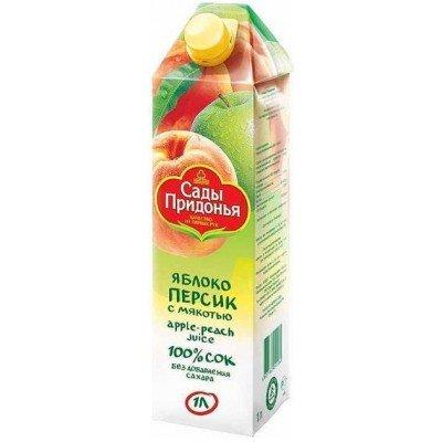 (Упак 12х1л)  Сок Сады Придонья яблоко-персик для детей с 3-х лет, 1л