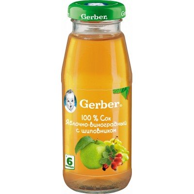 (Упак 12х175мл) Сок Gerber яблочно-виноградный с шиповником