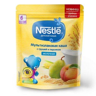 (Упак 9шт х 220гр) Каша молочная Nestle мультизлаковая с грушей и персиком