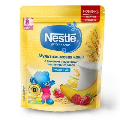 (Упак 9шт х 220гр) Каша молочная Nestle мультизлаковая с бананом и кусочками земляники