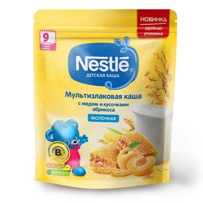 (Упак 9шт х 220гр) Каша молочная Nestle мультизлаковая с медом и кусочками абрикоса