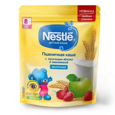 (Упак 9шт х 220гр) Каша молочная Nestle пшеничная с кусочками яблока и земляникой